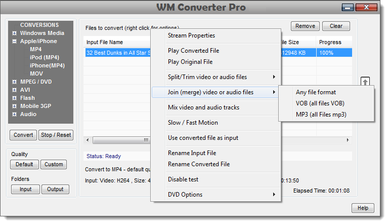 Convert AVI MP4 WMV MOV MPEG FLV and other video file formats